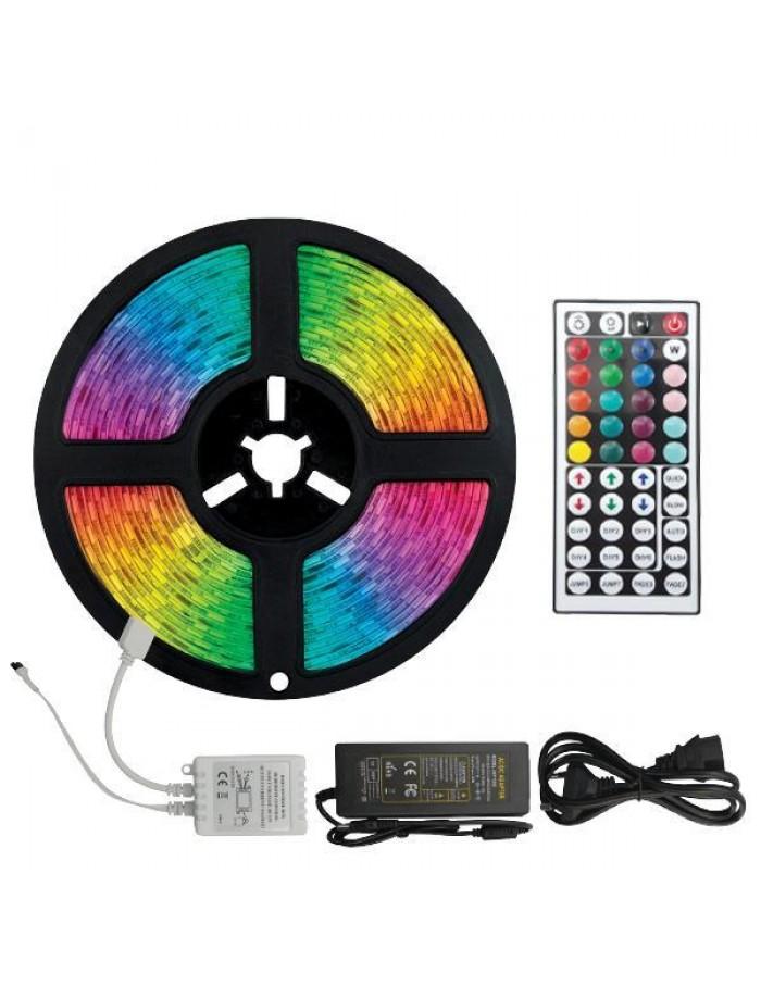 ΤΑΙΝΙΑ LED ΚΙΤ 5 ΜΕΤΡΩΝ 14,4W+DRIVER+CONTROLLER 12V RGB IP44