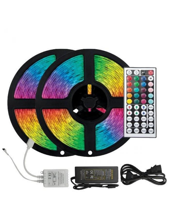 ΤΑΙΝΙΑ LED ΚΙΤ 2 X 5 ΜΕΤΡΩΝ 14,4W+DRIVER+CONTROLLER 12V RGB IP20