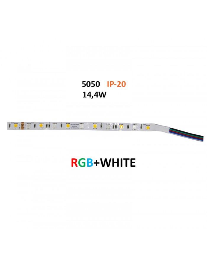 ΤΑΙΝΙΑ LED 5m 24VDC 14.4W/m 60LED/m RGB & ΛΕΥΚΟ IP20