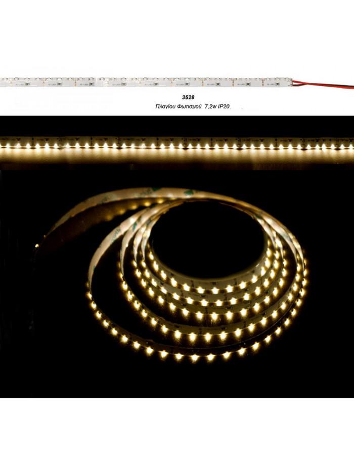 ΤΑΙΝ.LED ΛΕΥΚΗ ΑΥΤ.5m12VDC 7.2W/m90L/m ΠΛΑΓ.ΦΩΤ.ΘΕΡΜΟ IP20